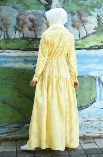 Kleid mit Band 8022-02 Gelb 8022-02