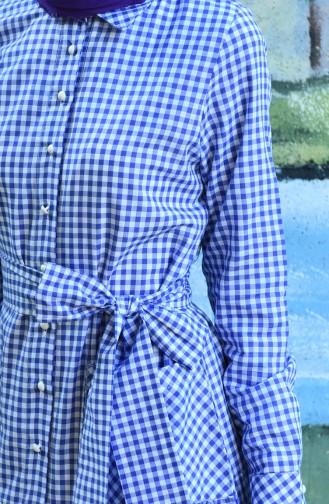 Plaid Belted Dress Purple 8022-03