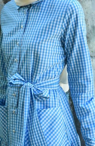 فستان بحزام بنقشة مربعات أزرق 8022-04