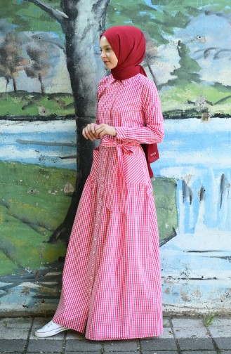 Kleid mit Band 8022-06 Fuchsia 8022-06