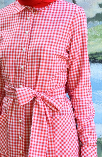 Plaid Belted Dress Red 8022-07