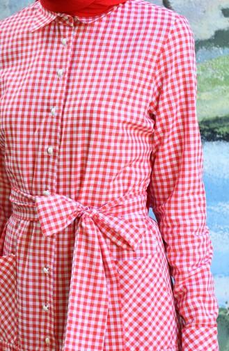 فستان بحزام بنقشة مربعات أحمر 8022-07