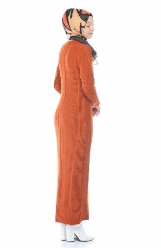 فستان قرميدي 0931-04