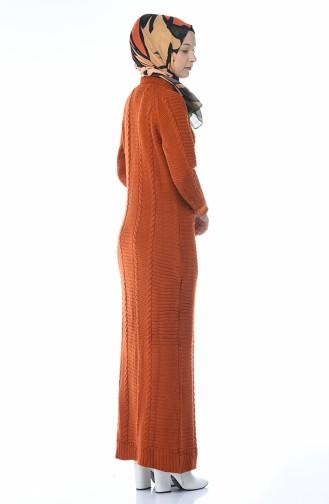 فستان قرميدي 0933-03