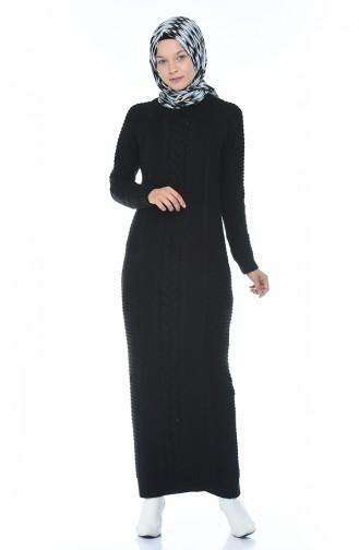Triko Elbise 0933-04 Siyah
