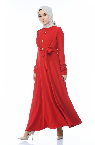 Side Tied Dress Red 1237-02