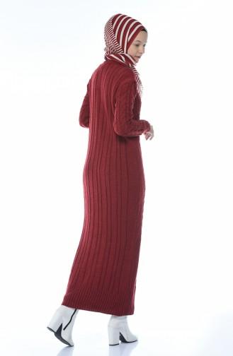 Trikot Kleid mit Strickmuster 1950-02 Weinrot 1950-02
