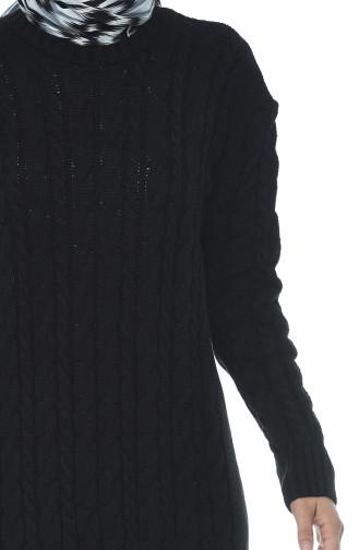 فستان تريكو بنمط حياكة أسود 1950-05