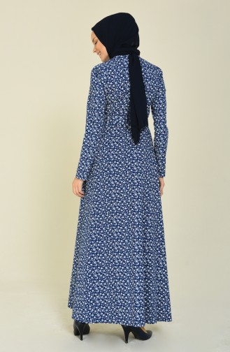 Pamuklu Desenli Elbise 60049-01 Lacivert