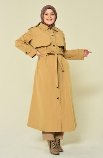 Trench Coat a ceinture et Boutons Grande Taille 1536-01 Camel 1536-01