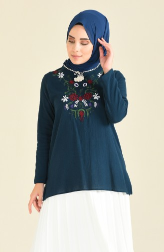 Oil Blue Blouse 21213-03