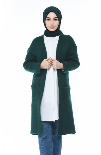 Long Gilet Tricot 7016-06 Vert emeraude 7016-06
