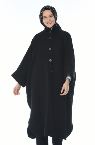 Buttoned Long Poncho Black 8001-03
