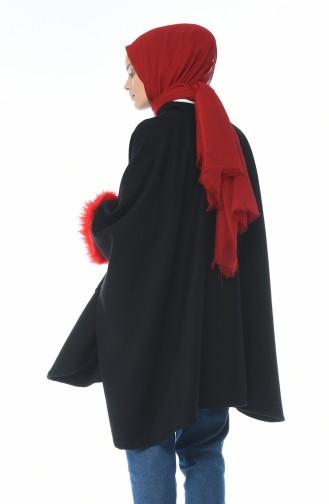 Poncho a Fourrure 5008A-02 Noir Rouge 5008A-02