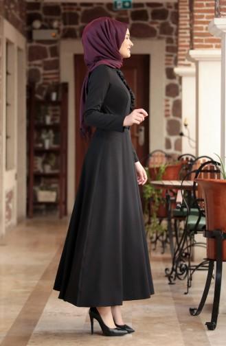 Frilly Belt Dress 3207-02 Black 3207-02