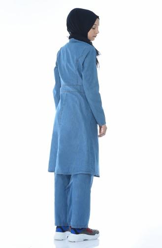طقم بنطلون وتونيك أزرق جينز 6007-02