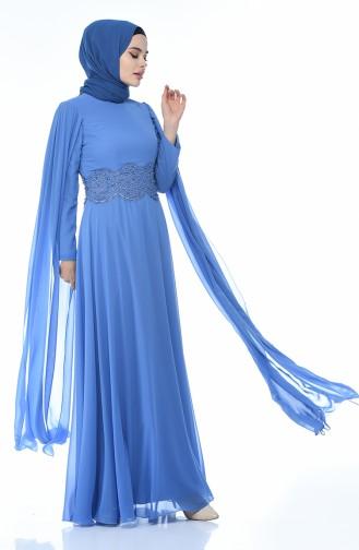 فساتين سهرة بتصميم اسلامي نيلي 9001-01