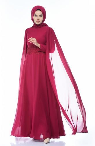 Fuchsia Hijab-Abendkleider 9001-02