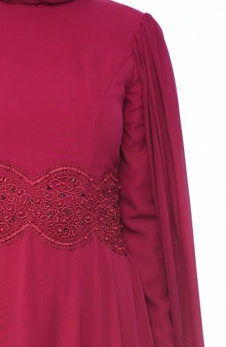 Fuchsia Islamic Clothing Evening Dress 9001-02