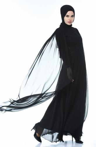 Schwarz Hijab-Abendkleider 9001-03