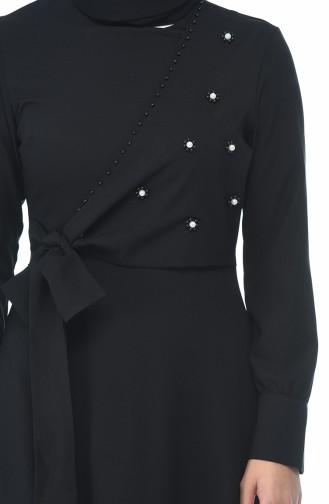 فستان مطرز بالخرز أسود 2088-02