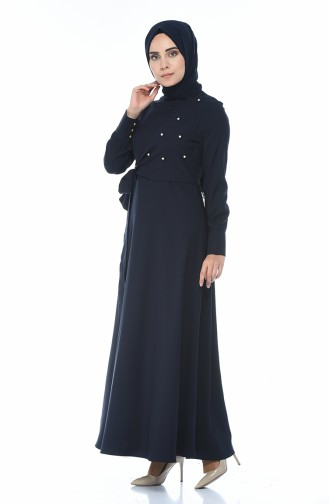 Boncuk İşlemeli Bağcıklı Elbise 2088-03 Lacivert