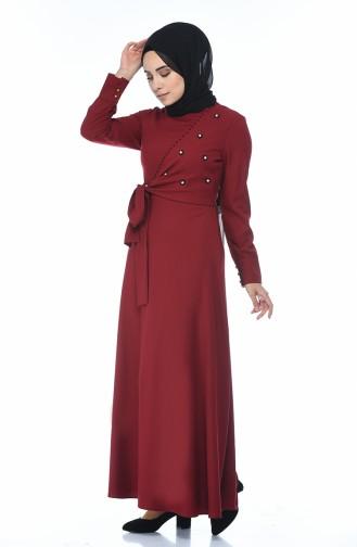 فستان مطرز بالخرز أحمر كلاريت 2088-04