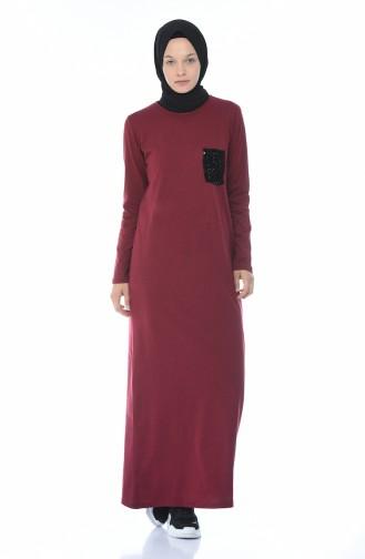 Düz Penye Elbise 0501-08 Koyu Bordo