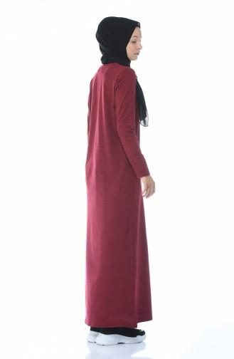 فستان سادة باللون العنابي الداكن 0501-08