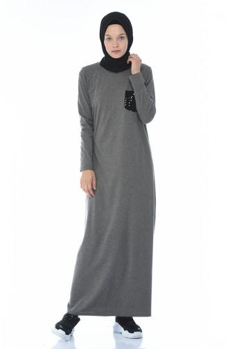 فستان كلاسيكي بلون رمادي غامق 0501-09