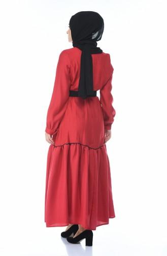Belted Dress Shirred Claret Red 1366-01