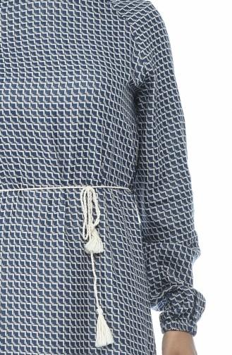 Robe Coton a Motifs 2138-01 Bleu Marine 2138-01