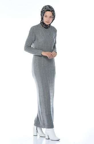 Tricot Knit Pattern Dress Gray 1908-02