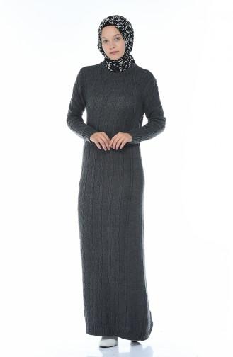 Trikot Kleid mit Strickmuster 1908-03 Anthrazit 1908-03
