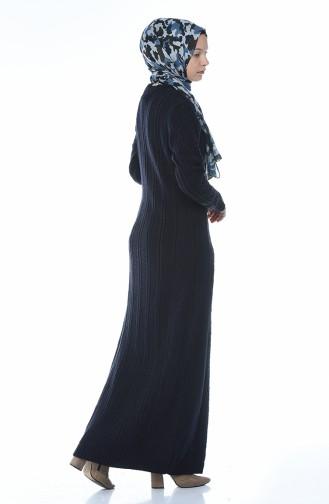 Trikot Kleid mit Strickmuster 1908-04 Dunkelblau 1908-04
