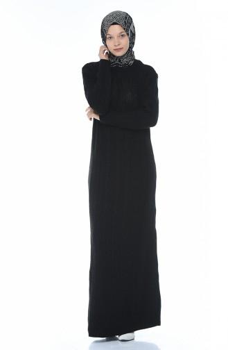 فستان تريكو بنمط حياكة أسود 1908-07