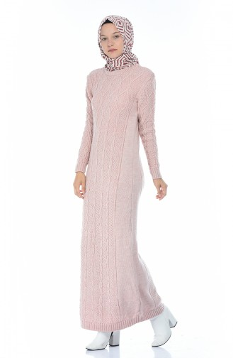 Triko Örgü Desen Elbise 1908-09 Pudra