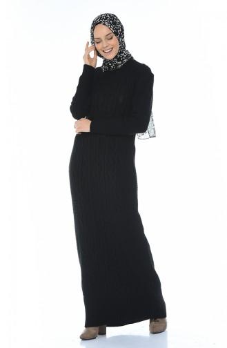 Triko Elbise 1909-03 Siyah