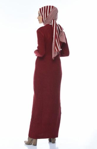 فستان تريكو أحمر كلاريت 1909-04