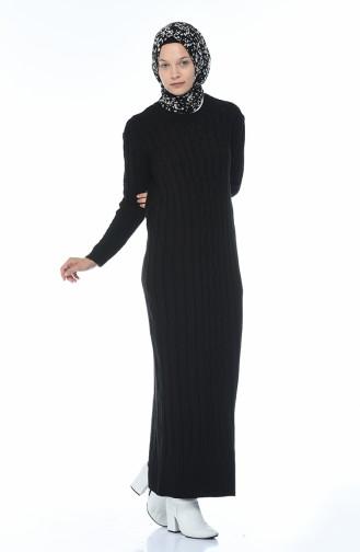 فستان تريكو طويل أسود 1920-07