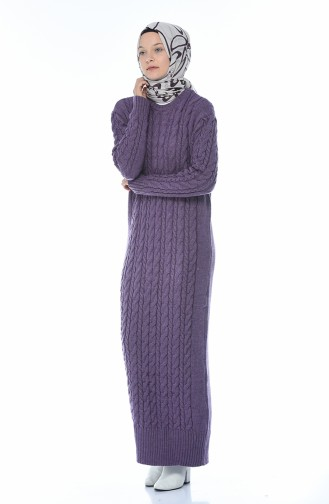 Tricot Knitted Dress Purple 1950-10
