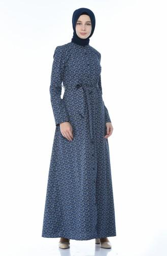 Dunkelblau Hijap Kleider 60050-01