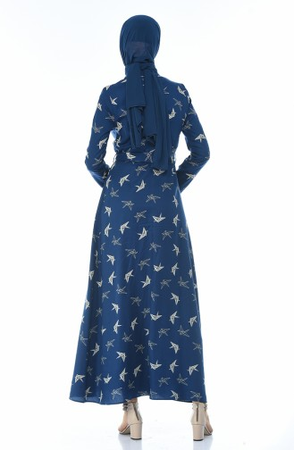 فستان أزرق كحلي 60052-01