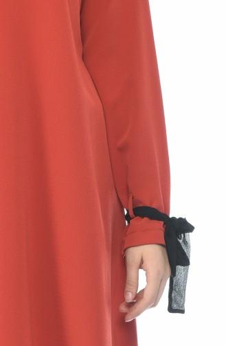 Düğmeli Klasik Tunik 1226-03 Kiremit