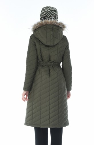 Arched Quilted Coat Khaki 505719-01