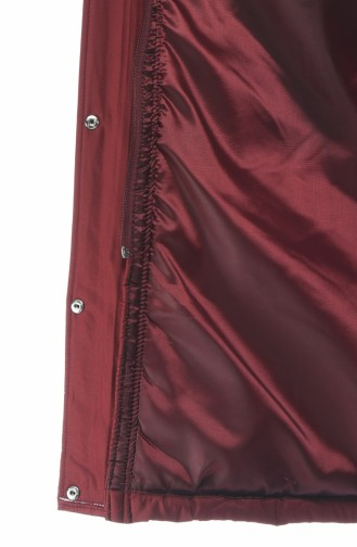 معطف بحزام مبطن أحمر كلاريت 505719-05