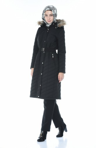 Arched Quilted Coat Black 505719-06