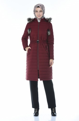 Lined Quilted Coat Bordeaux 509503-02