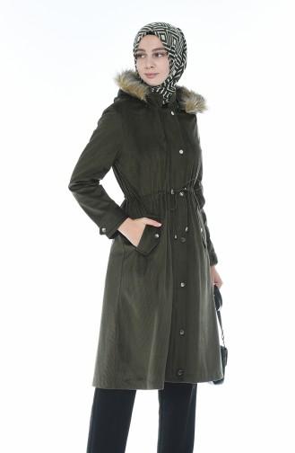 Fur Velvet Coat Khaki 5126-03