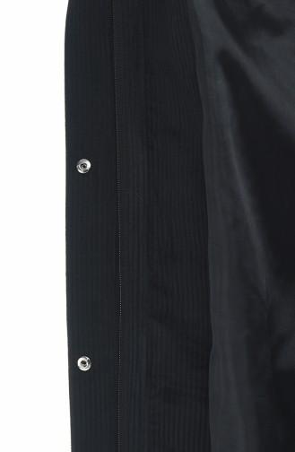 Kürklü Kadife Kaban 5126-05 Siyah 5126-05